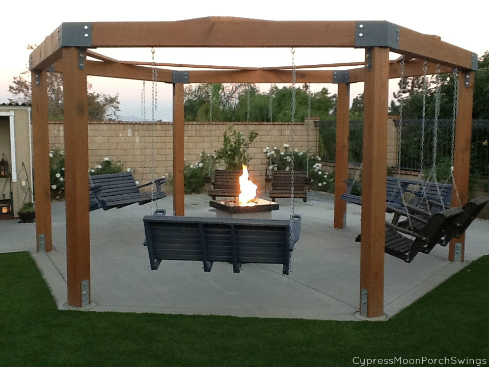 Porch Swings Fire Pit Circle Patio